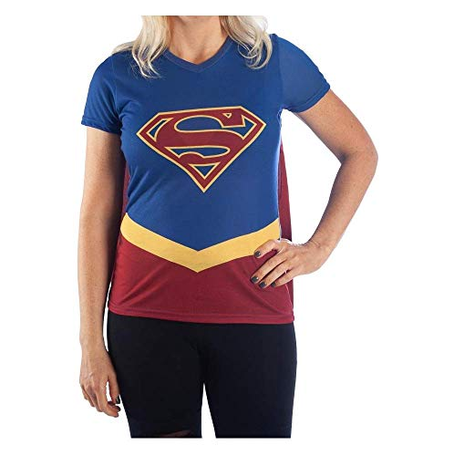 DC Supergirl Cape Tee Cosplay Supergirl Shirt Supergirl Cosplay - Supergirl Cape Shirt DC Comics Supergirl Tshirt-Large