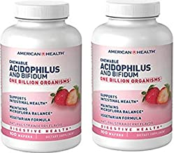 American Health Chewable Probiotic Acidophilus and Bifidum, Natural Strawberry Flavored, 2 Pack - Supports Digestive Health, Intestinal Balance & Immune Function - Vegetarian - 200 Total Servings