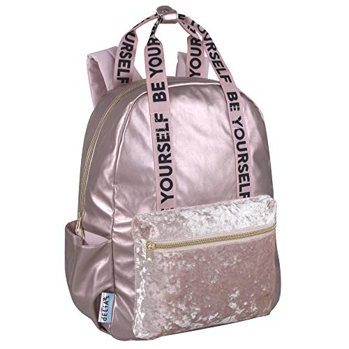 dELIAs Girls Fuzzy Pink Backpacks for Middle School, Teens, and High School Girls for School, Travel (Be Yourself)