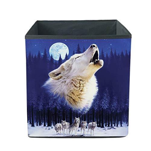 chaqlin Animal Wolf - Cesta de almacenamiento cuadrada para juguetes, cesta de almacenamiento duradera, cajas de tela para guardería, sala de estar, cubo de sala de juegos