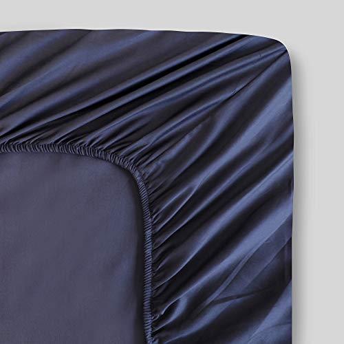 Spannbetttuch aus 100 prozent Bio-Baumwolle, dunkelgrau, Perkal-Gewebe, Fadenzahl 300, GOTS-zertifiziert, kühl, atmungsaktiv, luxuriöses Finish, passend für bis zu 43,2 cm tiefe Taschenmatratzen, nachhaltig