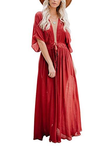 Minetom Damen Strand Bikini Cover Up Badeanzug Lange Kimono Cardigan Sommer Maxikleid Lang Spitze Boho Kleid C Rot XXL