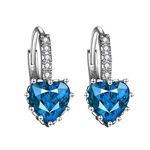 Moda Ear Studs AAA Zircon Stones Pendientes Aros Pendientes en forma de corazón para mujeres Niñas (azul claro)