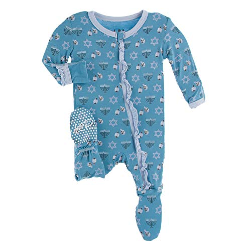 Kickee Pants Classic Print Ruffle Footie with Zipper PJs, Full One Piece Baby Bodysuit, Baby Clothes for Boy and Girls, Soft Footed One Piece Pajamas (Blue Moon Hanukkah - Newborn)
