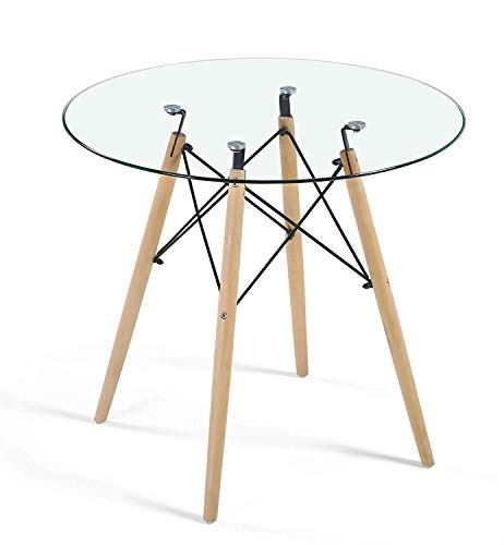 HAYOSNFO Modern Dining Table with Glass Top, Round Glass Dining Table, Mid Century Leisure Tea or Coffee Table with Wood Legs for Kitchen, Dining Room and Living Room