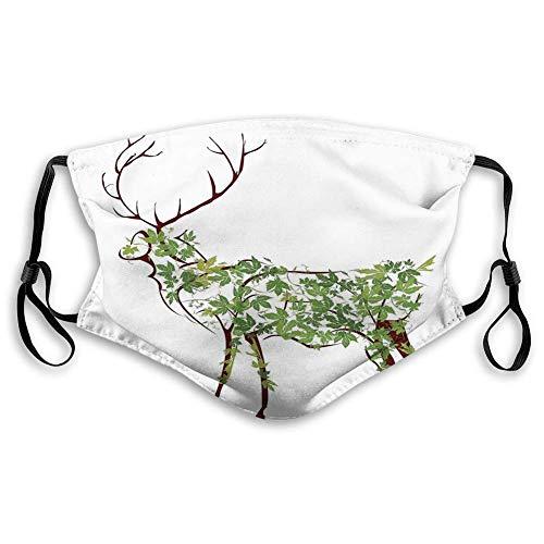 Máscara reutilizable de tela transpirable para pasamontañas, cuernos, ilustración de ciervos, alces y flores, jardín tradicional, resistente al viento, para adolescentes, tamaño: S