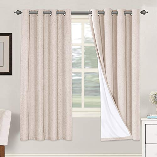 Linen Blackout Curtains 72 Inches Long 100% Absolutely Blackout Thermal Insulated Textured Linen Look Curtain Draperies Anti-Rust Grommet, Energy Saving with White Liner, 2 Panels, Natural