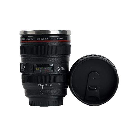 Hotaden 1PC 400MLCamera Objektiv-Becher mit Edelstahl-Thermos Futter Edelstahl Thermobecher mit Deckel