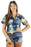 Funky Camisa Blusa Hawaiana, Manga Corta, Surf, Gris, M