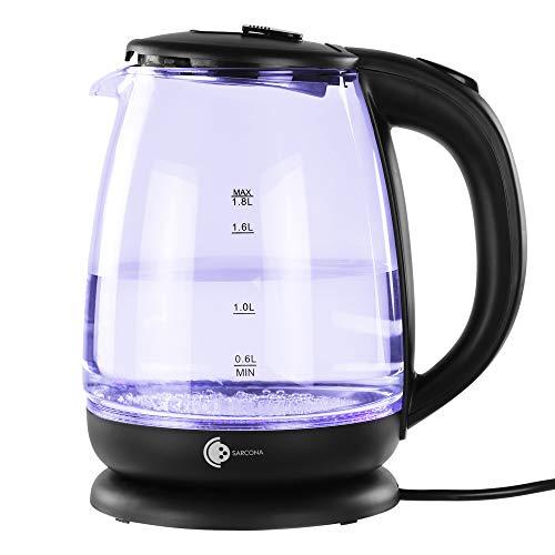 Sarcona Design Glas Wasserkocher 1,8 Liter, 1800 Watt, mit blauer LED Beleuchtung, Trockenlaufschutz, BPA-frei, 360° Basis, Edelstahl Heizelement, Cool-Touch Griff, Überhitzungsschutz, schwarz