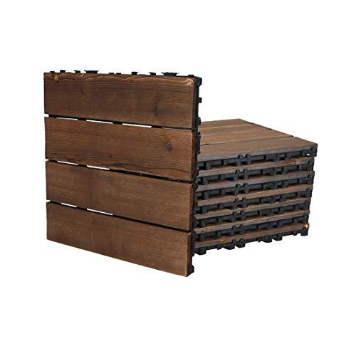 Progoal Interlocking Flooring Tiles Solid Wood 12
