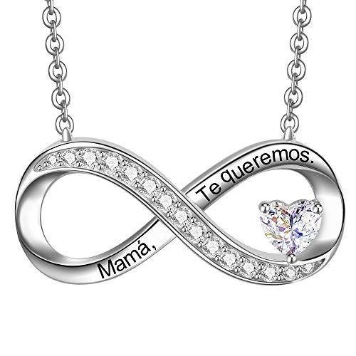 ENGSWA Collar Mujer Plata de Ley 925 Colgante Infinito con Corazón Grabado Te Amo Regalo para Madre Mamá