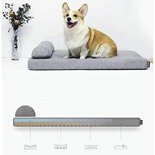 zyy Das Hundebett Hundesofa Premium Plüsch Orthopädie Wasserdichter Memory Foam Hundebett Qualität Therapeutisch mit Kissen Groß 70x 60 x 6cm,Grau