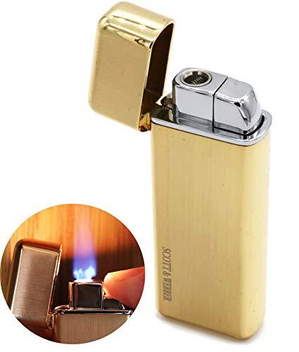 Scott & Webber – Nachfüllbares Gas-Feuerzeug mit windfester Jetflamme, Feuerzeug aus Metall, Sturmfeuerzeug einstellbar bis 1300°C