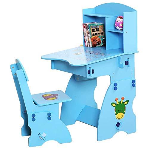 Mesa para niños y silla de silla mesa de mesa conjunto mesa de mesa y silla para niños arte de madera conjunto de mesa de madera Estación de trabajo altura ajustable para niños niñas niños amigos fami