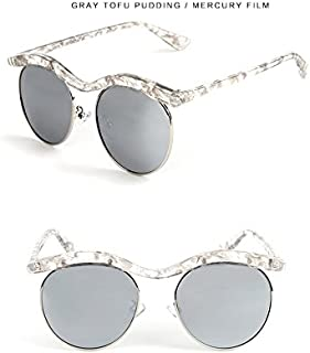 Sunglasses Child Sunglasses Fashion Pattern Half Frame Sunglasses Children Polaroid Sunglasses Boys Girls Kids Baby Goggles UV400 Mirror Accessories for Summer Beach (Color : Silver)