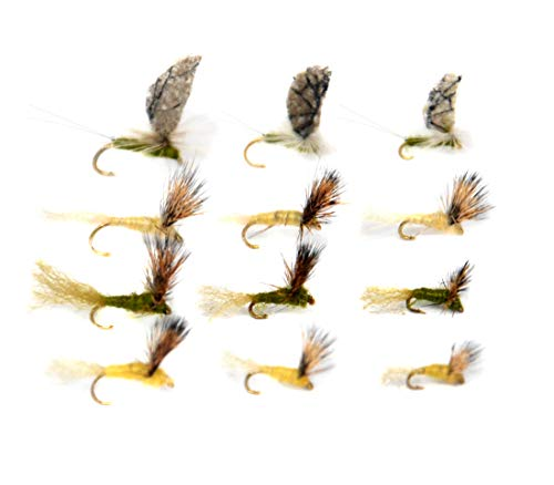Outdoor Planet 12 Callibaetis&BWO&PMD Sparkle Dun Mayfly/Fly Lure Assotment for Trout Dry Fly Fishing Flies