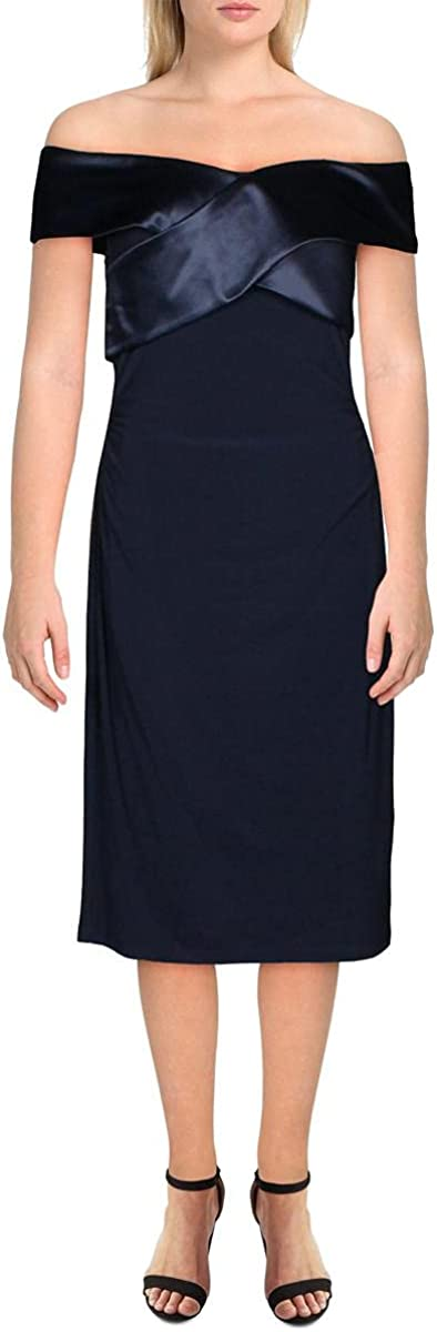 Lauren Ralph Lauren Womens Criss Cross Front Ruched Midi Dress