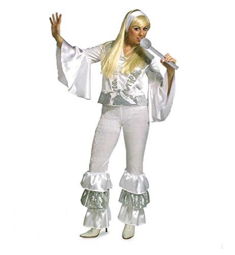 KarnevalsTeufel Damenkostüm Alena, 2-TLG. Kostüm bestehend aus Hose und Oberteil, Sängerin, Tänzerin, 70er-Jahre Hippie-Outfit