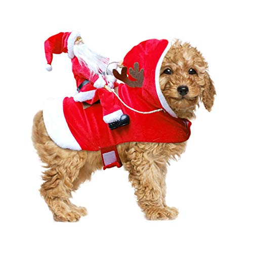 Takezuaa Dog Christmas Costume Santa Claus Riding Horse S - XXL Christmas Dog Clothes with Reindeer Antlers Warm Cute Cat Pet Christmas Costumes Christmas Dog Presents (L)