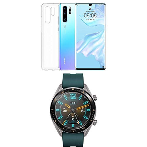 Huawei P30 Pro (Breathing Crystal) più cover trasparente + Huawei Watch GT Active Smartwatch, Verde Scuro