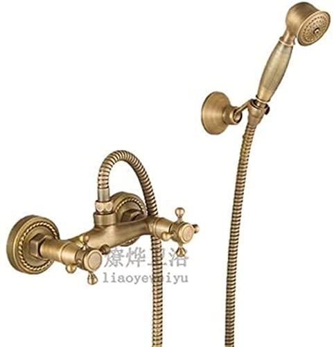 AXWT El Sistema de Ducha de Lujo de Lujo de la Vendimia Incluye Cabezal de Ducha de Lluvia, Ducha de Mano y bañera, Grifo de Chorro de bañera, Mezclador de Ducha de Lluvia, Conjunto de latón Antiguo,