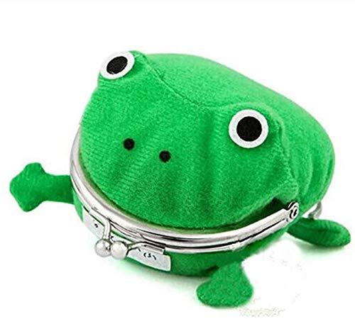 WangsCanis Cartoni - Cartera con diseño de rana, color verde, con forma divertida de animal de peluche Rana Talla única