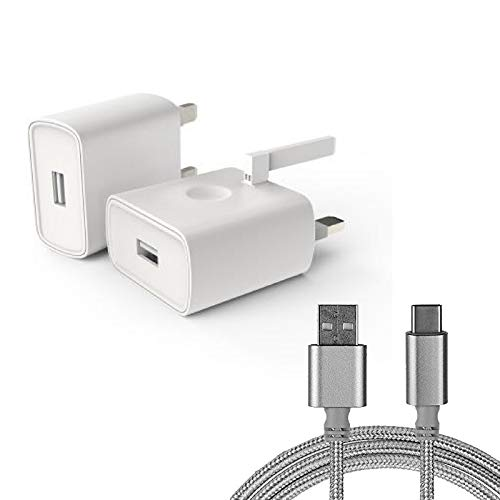 UK Mains 3-Pin Wall Plug High Speed Adapter Charger 2A White + Silver Type-C Cable for Acer Liquid Jade Primo Smartphone