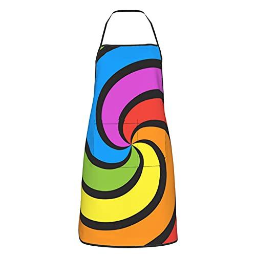 Delantal de cocina para mujeres hombres con bolsillos remolino arco iris delantales cocinero hornear jardinería barbacoa parrilla pintura negro