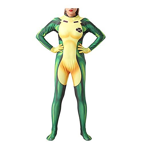 Rogue Raksha Girl Body Girls Onesies Trajes de Cosplay de superhéroe Disfraz de Mascarada Mono de Halloween Medias de Carnaval 3D Impreso Zentai,Green-Kids/2XL/145cm~155cm
