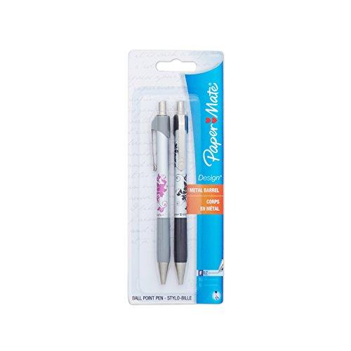 Paper Mate Design Retractable Fine Point Pens, 2 Floral Design Black Ink Pens