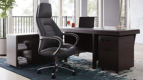 Hot Sale Quincy Modern Wood Desk with Rolling Return and File Cabinet