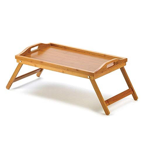 mamjack Home–Vassoio da letto pieghevole vassoio colazione tavolino da letto in bambù per cibo o per computer con 2Manici, Tablet per il Colazione in bambù tavolo divano sofa, Picnic