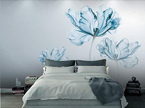 Carta Da Parati 3D Murales Da Parete Semplici Affreschi Moderni Fiori Blu Fotomurali 3D Moderni Murale Decorazioni Muro Poster Gigante Sfondo Murali