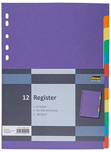 Idena 10091 -Register aus Karton, 160 g/m², DIN A4, 12-teilig, bunt, 1 Stück (5)