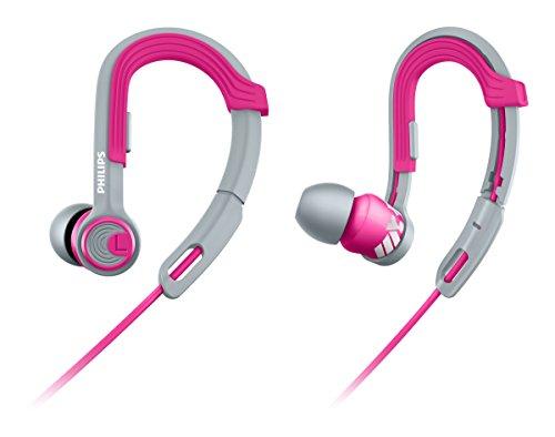 Philips SHQ3300PK/00 ActionFit Ear-Clip-Sportkopfhörer (wasserfest, Kabel-Clip und Aufbewahrungstasche) pink/grau