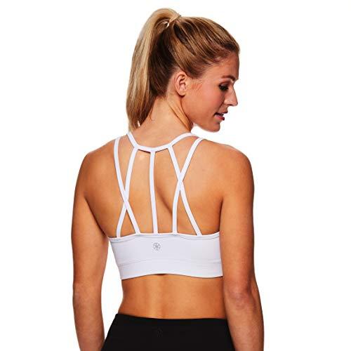 Gaiam Damen Sport-BH mit Träger, kabellos, Sport-BH, mittlere Schlagkraft, Racerback Workout & Yoga Bralette - weiß - Medium