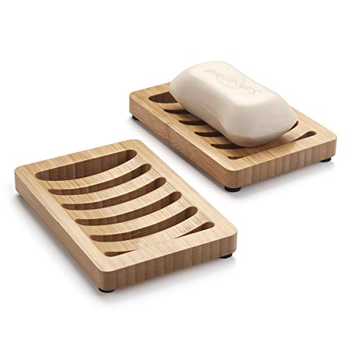 AmazerBath 2 Pack Bamboo Soap Dishes for Shower, Home Soap Case Bar Soap Tray Soap Containers for Shower, Kitchen, Bathroom
