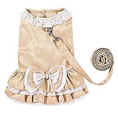 Dog Cat Dresses Princess Skirt Lace Skirt Strap Splicing Style with Traction Rope to Prevent Escape for Dog Skirt Cat Pet Skirt Holiday Wedding Christmas New Year Spring Summer (X-Large)