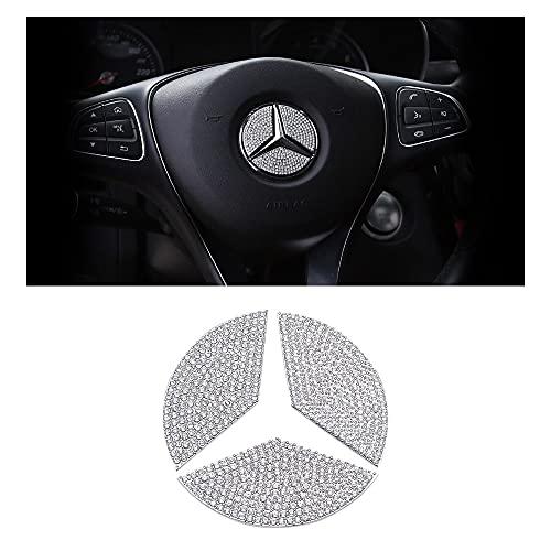 BLINGOOSE für Mercedes Benz Zubehör Lenkrad Emblem Aufkleber Glitzer AMG Abziehbilder Mercedes-Benz W203 W204 W205 A B C GLC GLE GLK CLS ML