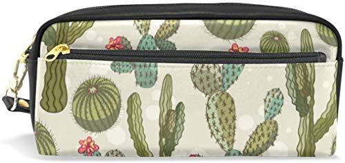 Federmäppchen Tropische Kaktus Pflanzen Blumen PU Leder Stifttasche Wand Make-up Kosmetiktasche für Studenten oder Frauen
