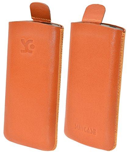 Suncase Original Tasche für AEG Voxtel SM315 Leder Etui Handytasche Ledertasche Schutzhülle Hülle Hülle - Lasche mit Rückzugfunktion* in orange