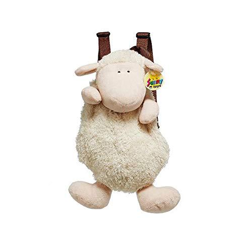Euro Souvenirs Mochila de peluche con forma de oveja, 33 cm, con tirantes ajustables en la espalda, color blanco