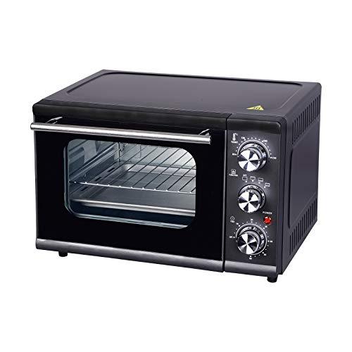 WOLTU BF04sz Minibackofen 15 Liter, 1300 Watt Toasterofen | Pizzaofen | Krümelblech mit Timer Mini Backofen für Pizza, Toast, Truthahn, Hot Dogs