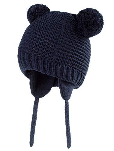 JFAN Gorro de Bebé Niña Invierno Sombrero con Double Cable pompón Bufanda con botón Caliente de Bebé Oso Lindo Niño Orejera Beanie Tejido Gorro de Punto Caliente Capucha Bufanda Caps Sombrero