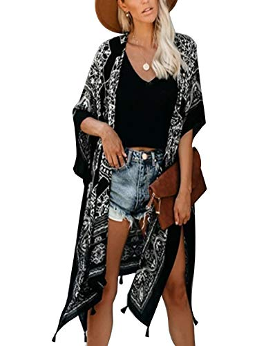BMJL Women#039s Floral Kimono Swimwear Beach Cover Up Short Sleeve Oversized CardigansFreeBlack