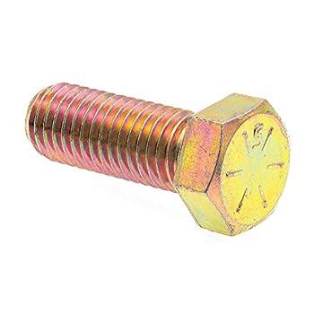 Prime-Line 9106131 Hex Head Cap Screws Grade 8 9/16 in.-12 X 1-1/2 in Grade 8 Yellow Zinc Plated Steel 10-Pack