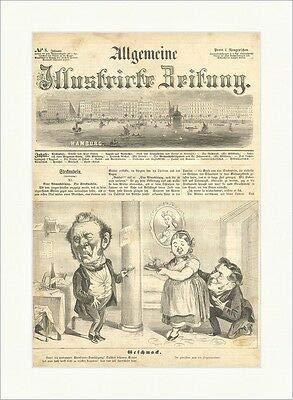 Kunstdruck Sabor caricaturas botella de vino de cristal Hamburgo, juego de palabras, punto de madera E 9793