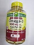 Spring Valley Omega-3 500 mg from Fish Oil Heart Health, Lemon, 180 Softgels