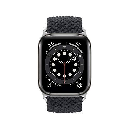 InvokerTech Braided Armband Kompatibel für Apple Watch 40/38mm 44/42mm, Gewebtes Solo Loop Ersatzarmbänder Kompatibel mit iWatch Series 6/5/4/3/2/1/SE (44/42mm - L, Holzkohle)